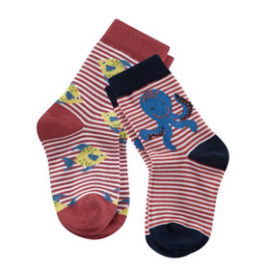 Kinder-Socken aus Bio-Baumwolle 2er-Pack poppy/white