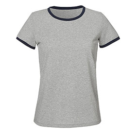 Ringer T-Shirt aus Bio-Baumwolle heather grey/navy
