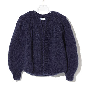 ! AUSVERKAUFT ! Mohair Short Pleated Cardigan navy