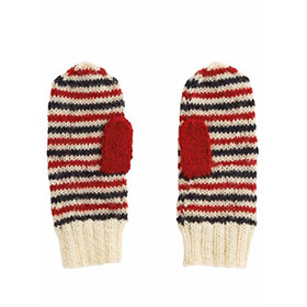Stripe Mittens, Blue / Red / White