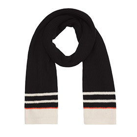 Knit Stripe Scarf, Black / Striped